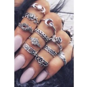 Just in! 11pc silver midi & knuckle ring set